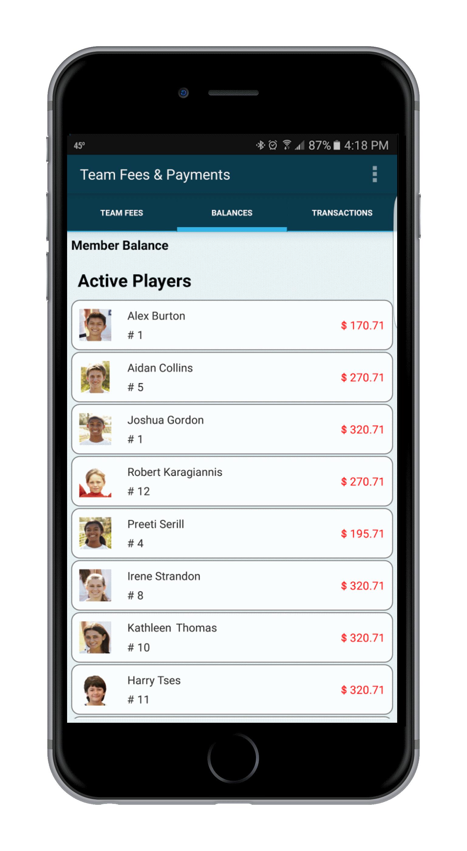 Features for Sports Teams - Team Fees & Payments Tracking